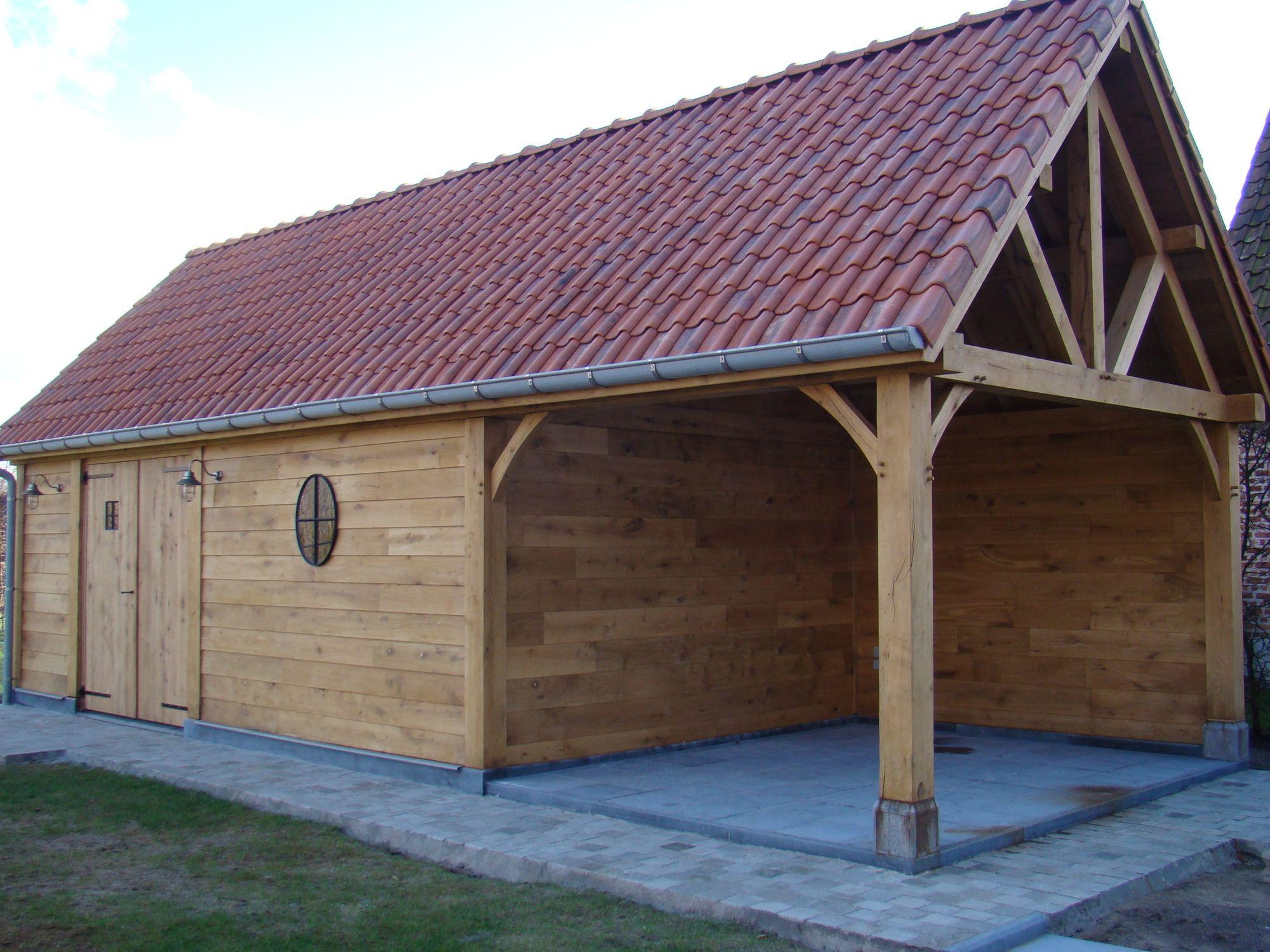 Houten bijgebouw met overdekt terras nazareth realisaties - Overdekt terras in hout ...