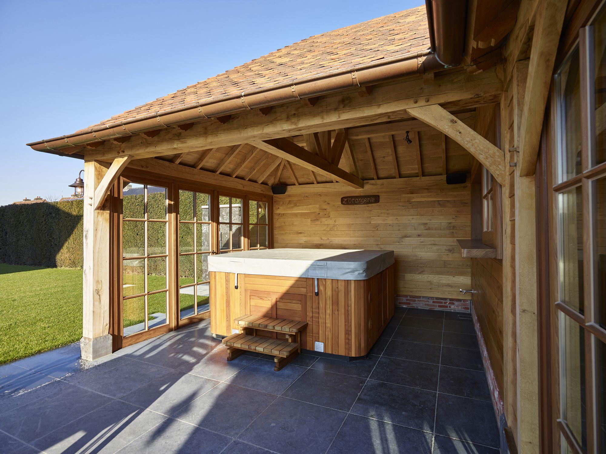 Realisatie Poolhouse In Eik Bijgebouw Landelijke Stijl