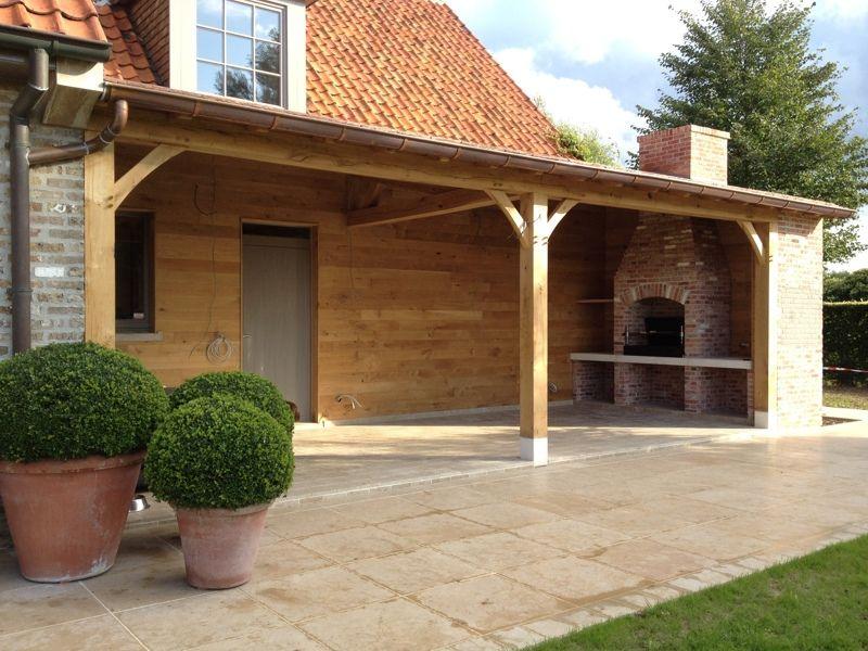 Realisaties overdekt terras in hout eiken bijgebouwen op maat for Overdekt terras