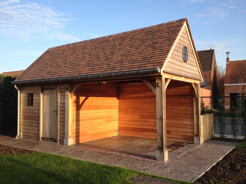 Realisaties overdekt terras in hout eiken bijgebouwen op maat